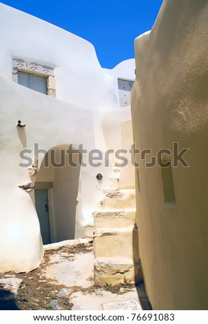 Close up of traditional village of Thira at Santorini island in Greece - stock photo