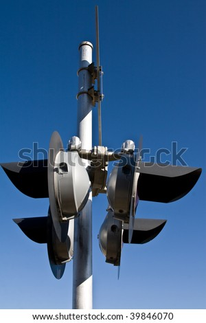 Close up of train crossing lamp