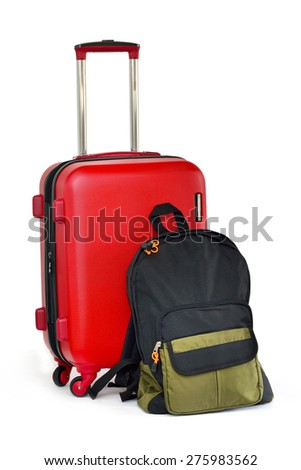 Close up of travel luggage and backpack isolated on white background, selective focus.  - stock photo