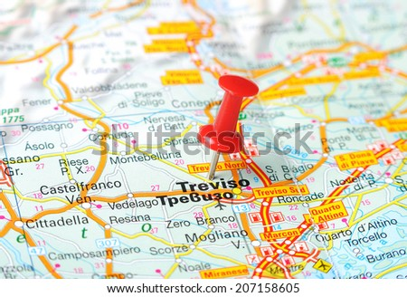 Close Treviso Italy Map Red Pin Stock Photo 207158605 - Shutterstock