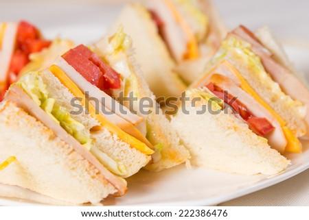 Close Up of Triple Decker Sandwich on Plate - stock photo