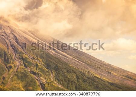 Close Up Of Tungurahua Volcano Day Explosion, South America - stock photo