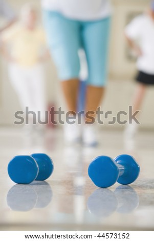 Close-up of two dumbbells - stock photo