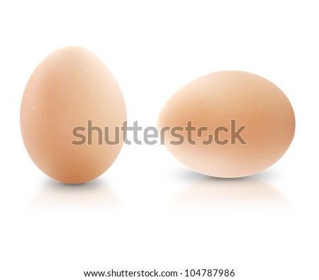 Close up of two egg, isolated on white background.