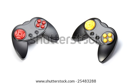 close up of two gaming consoles on white background - stock photo