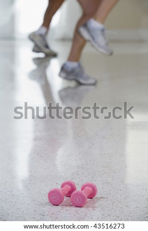 Close-up of two hand weights - stock photo