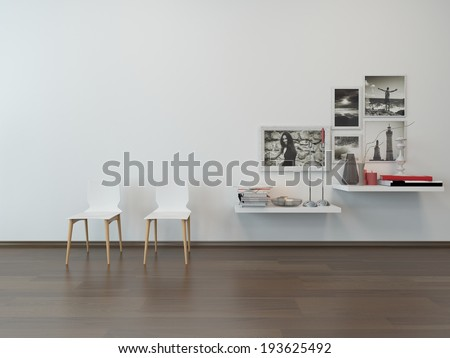 Close-up of two white chairs against white wall and sideboard with nice decoration - stock photo
