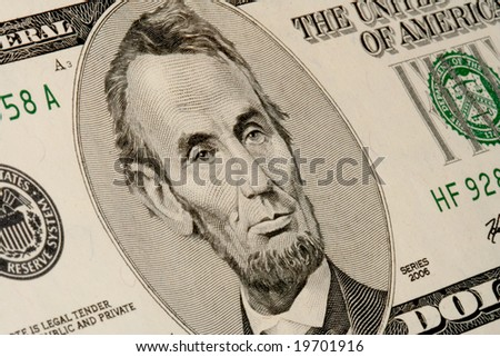 Close-up of U.S. five dollar banknote