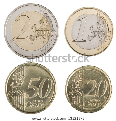 Close-up of uncirculated 1 and 2 Euro and 20 and 50 Euro cent coins. - stock photo