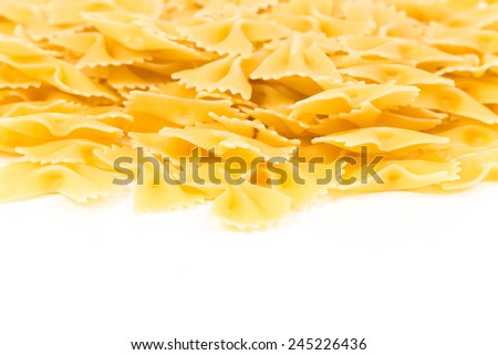 Close up of uncooked farfalle pasta as a background - stock photo