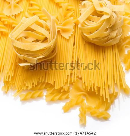 Close up of uncooked macaroni