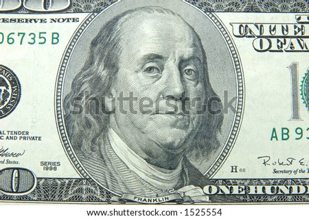 Close up of US dollar one hundred bill