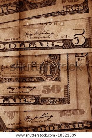 Close up of US dollars - stock photo