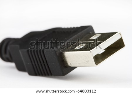 Close-up of USB connector isolated on white color. - stock photo