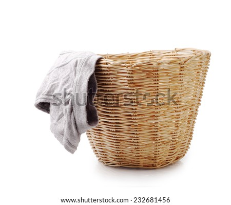 Close up of used male underwear in basket isolated on white background, clipping path. - stock photo