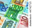 Close up of various banknotes from 5 to 100 Euro - stock photo