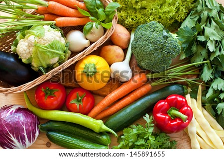 Close up of various colorful raw vegetables