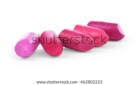 close up of, various lipsticks on white background