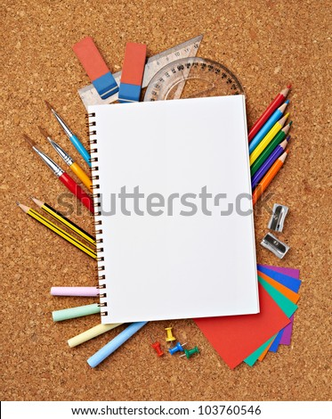 close up of various school items - stock photo