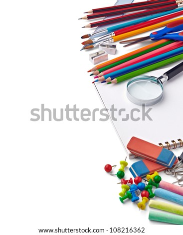 close up of various school items