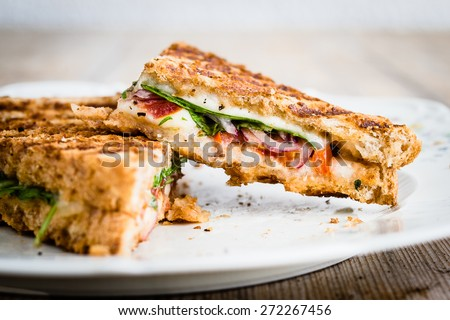 Close-up of vegetarian panini with tomatoes and mozzarella. Selective focus.