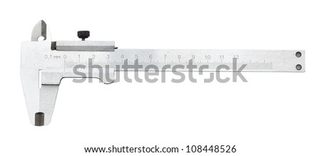 Close up of vernier calliper. Clipping path. Isolated on white background. - stock photo