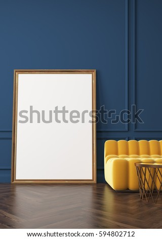 Close up of vertical poster standing on a dark wooden floor near a yellow sofa and a coffee table. Blue wall, dark wooden floor. 3d rendering, mock up