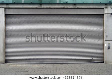 Close up of very big garage door - stock photo