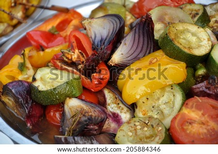close up of very tasty grill food - stock photo
