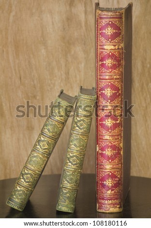 close up of vintage books - stock photo