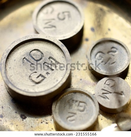 Close up of vintage gram masses used as measurement's instrument                               - stock photo