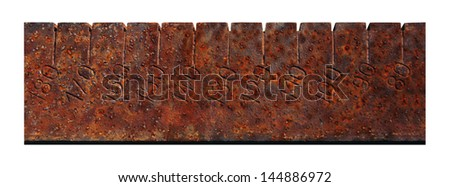 Close up of vintage metal ruler - stock photo