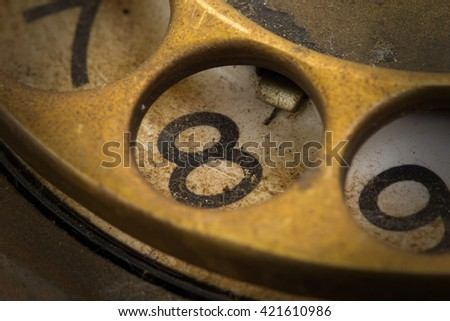 Close up of Vintage phone dial, dirty and scratched - 8, perspective - stock photo