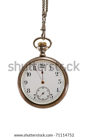 Close up of vintage pocket watch isolated on white