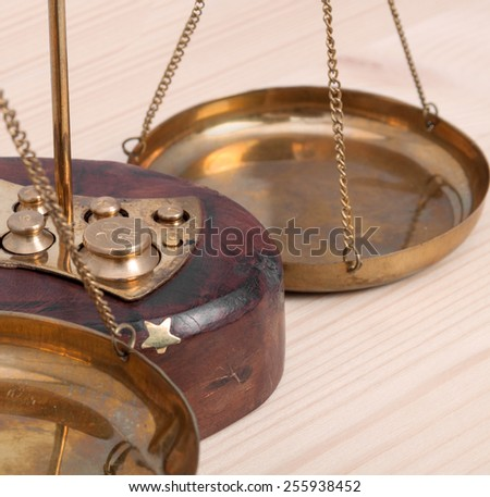 Close-up of vintage scales with a set Guirec - stock photo