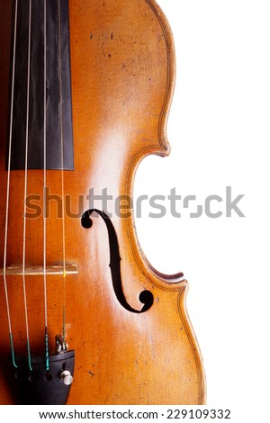 close-up of violin or fiddle isolated on white