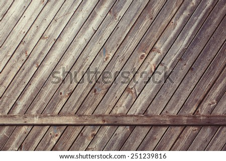 Close up of Wall made of Gray Wooden Planks - stock photo