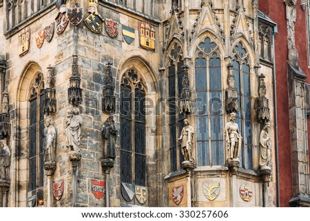 Close up of wall of Prague town hall tower with astronomical clock, or Prague orloj, Czech Republic - stock photo