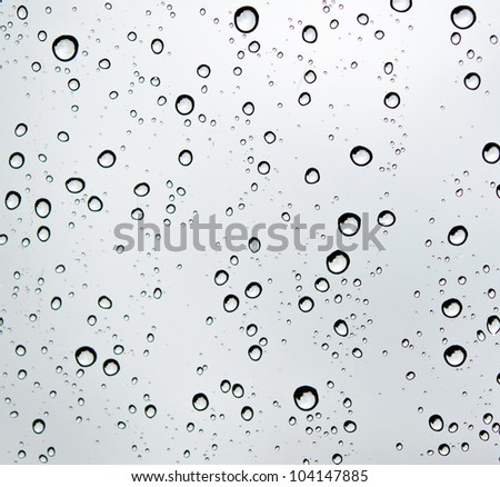 Close-up of water drops on glass surface as background.