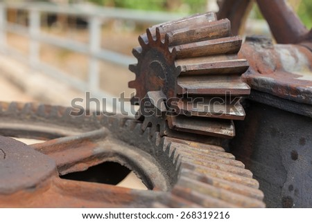 Close up of water gate gear. - stock photo