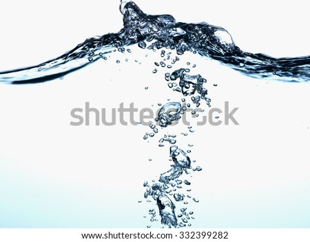 Close-up of water in motion. Underwater view.