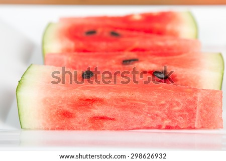 Close up of watermelon slices - stock photo
