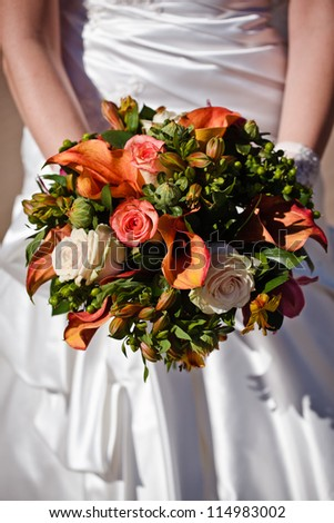 close up of wedding bouquet - stock photo