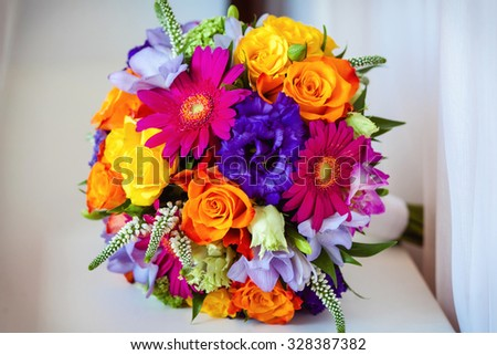 close up of wedding bouquet
