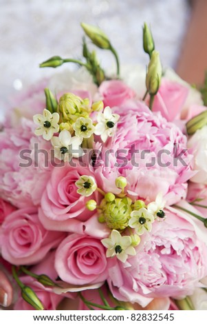 close-up of wedding bouquet of pink flowers - stock photo
