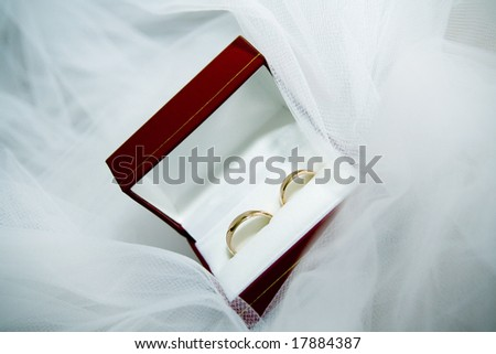 close up of wedding rings in red box - stock photo