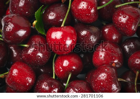 Close-up of wet cherries with water drops. - stock photo