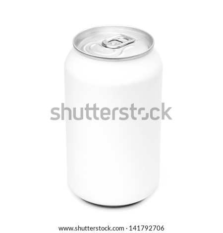Close-up of white aluminum can isolated on white background. Studio shot with clipping path. - stock photo