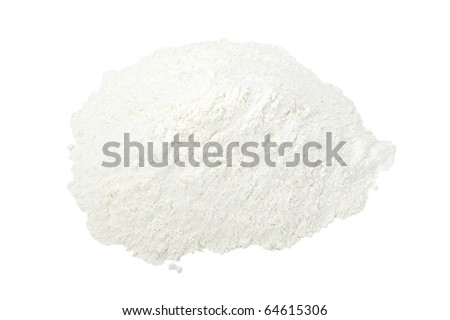 close up of  white baking flour powder  on white background with clipping path - stock photo