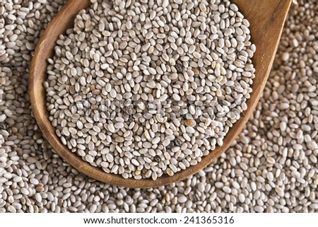 Close up of white chia seeds in wooden spoon. - stock photo